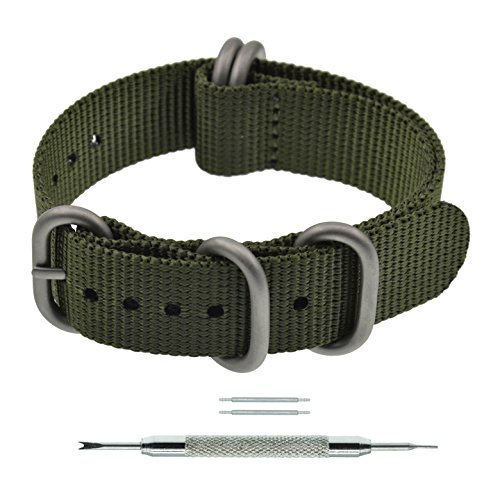 22mm Olive Zulu Strap 5 Rings Nylon Watch Band Strap Replacement Thick for Men