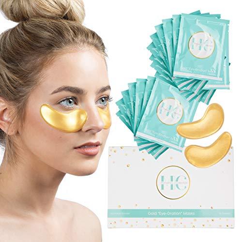 (16 Pairs) 24K Gold Under Eye Mask: Hydrating Collagen Undereye Gel Patches - Anti Wrinkle Moisturizing Eye Pads - Brightening Skin Care Treatment for Puffy Eyes, Dark Circles, Wrinkles, Eye ()