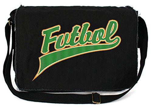 Tenacitee Futbol Jersey Black Raw Edge Canvas Messenger (Black Jersey Messenger Bag)