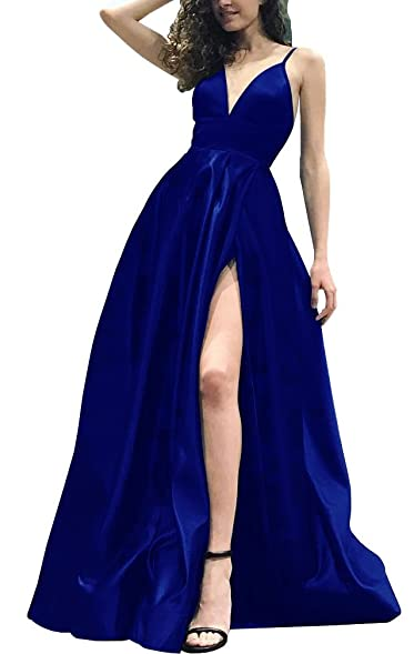 Cloverdresses Womens Sexy Deep V Neck Prom Dresses Side Split Stain Evening Long Party Dress Gowns