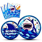 WERNNSAI Shark Party Supplies for Boys - Plates and Napkins Disposable Tableware Set Dinner Dessert Baby Shower Kids Birthday Party Cerebrating Serves 16 Guests 48PCS
