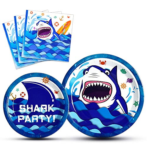 WERNNSAI Shark Party Supplies - Blue Ocean Shark Tableware Set for Boys Birthday Baby Shower Pool Party Dinner Dessert Plates and Napkins Serves 16 Guests 48 Pieces]()