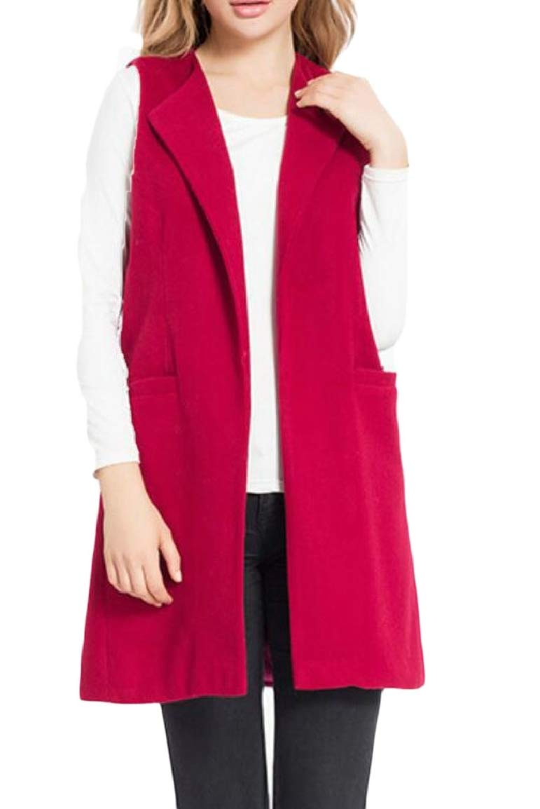 Qiangjinjiu Womens Lapel Duster Trench Vest Long Sleeveless Casual Blazer