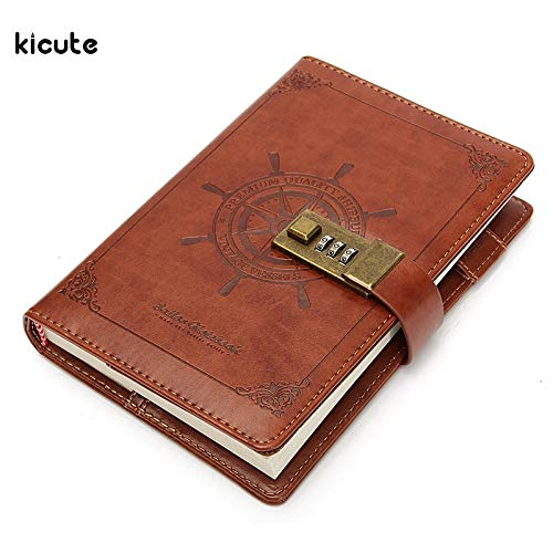 Password Book - 1Pcs Vintage Rudder Brown Leather Journal Blank Diary Note Book with Password Code Lock Office School Stationery Supplies Gifts by SARIN EASH