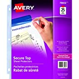 """Avery Diamond Clear Secure Top Sheet Protectors, Diamond Clear, Fits Letter Size -8.5"""" x 11"""", 25 Sheets (78602)"""