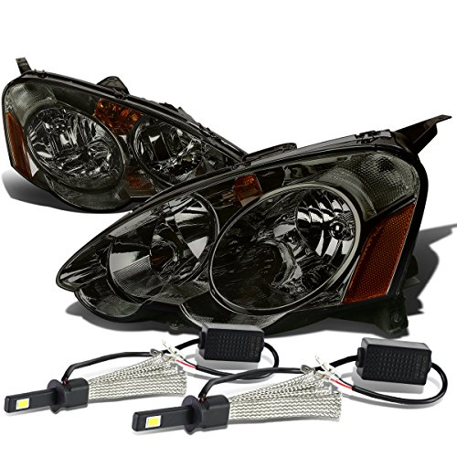 (For Acura RSX DC5 Pair of Smoked Lens Amber Corner Headlight + H1 LED Conversion Kit)