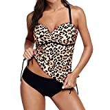 WUAI Swimsuits for Women, Sexy Leopard Printed Racerback Tankini Set with Boyshort Two Piece Swimwear Tummy Control(Brown,Small)
