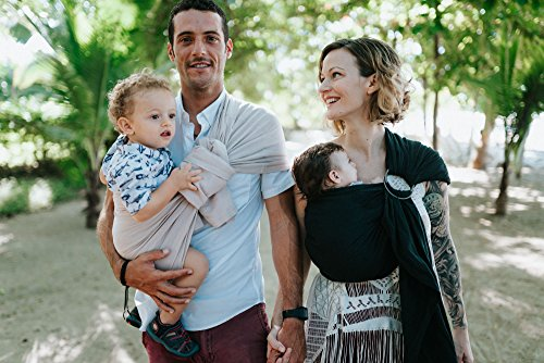 Luxury Ring Sling Baby Carrier – extra-soft bamboo and linen fabric - lightweight wrap - for newborns, infants and toddlers - perfect baby shower gift – great for new Dad too - nursing cover by Pura Vida Slings (Image #6)