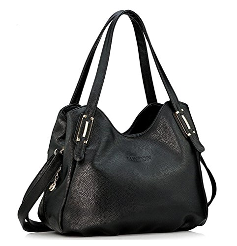 Women Handle amp;Detachable Bag Shoulder Shoulder with Leather Strap Casual Zipper Tote Bagtopia Top Black Handbag dwPITg
