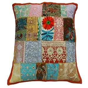 "Caso Cojín decorativo Multicolor Indian Home Décor Kutch Bordado Decoración Patchwork Cover Art Regalo Almohada 17 pulgadas """