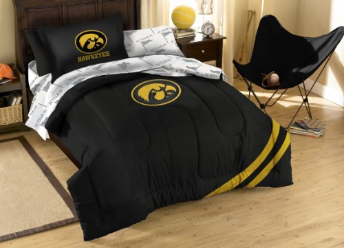 The Northwest Company NCAA Iowa Hawkeyes Twin Bed in a Bag with Applique Comforter