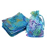 WINOMO Organza Drawstring Bags with Ties 100pcs Jewellery Pouches Candy Pouch Small Gift Bags for Wedding Party 12 x 9cm(Blue Coral)