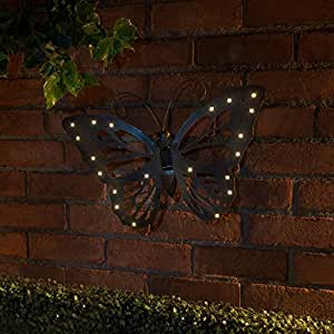 Solar Powered metal mariposa Wall Art–Figura decorativa de hierro fundido efecto