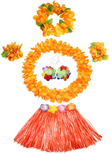 40's Themed Costumes (40cm Elastic Hawaiian orange grass skirt performance costume set for girls)