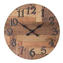 NIKKY HOME Decorative Wood Round Large Wall Mounted Clock, 29.92, Brown