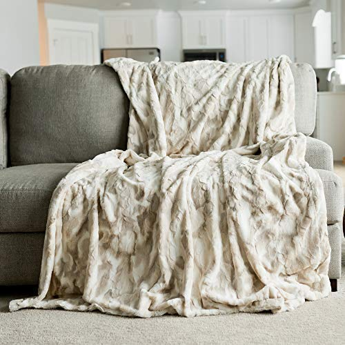 "Oversized Throw Blanket Warm Elegant Softest Cozy Faux Fur Home Throw Blanket 60"" x 80"", Marbled Ivory"
