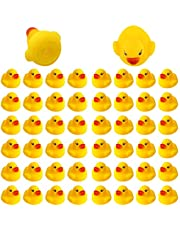 SAVITA 50pcs Rubber Ducky Bath Toy for Kids, Float and Squeak Mini Small Yellow Ducks Bathtub Toys for Shower/Birthday/Party Supplies(3.5×3.5×3cm/1.4×1.4×1.2inch)