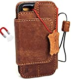 Genuine Vintage Real Leather Case for Iphone se Book Wallet Cover slim Handmade 5s 5c removeable detachable magnet closure cover vintage brown davis