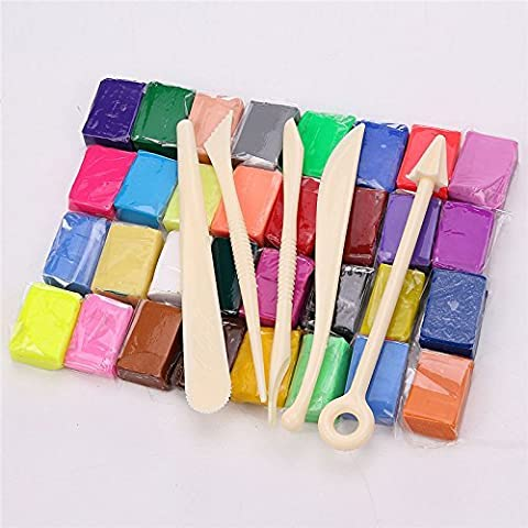 NPLE--5 Tool+32Colour Oven Bake Polymer Clay Block Modelling Moulding Sculpey Tool set - Modelling Magazine