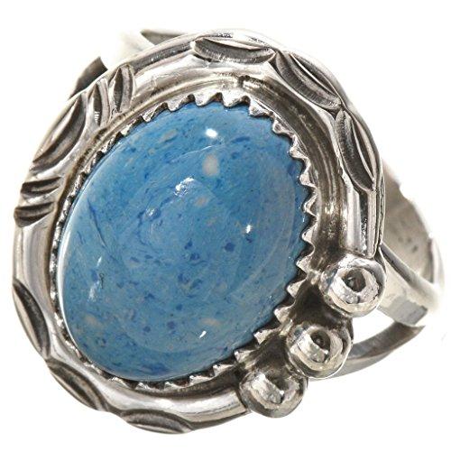 Blue Denim Lapis Silver Navajo Ring Southwest Ladies Design ()