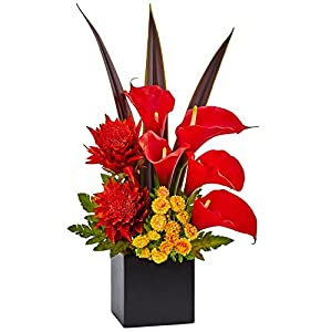 Nearly Natural Tropical Floral and Calla Lily Arrangement Red/Orange 44