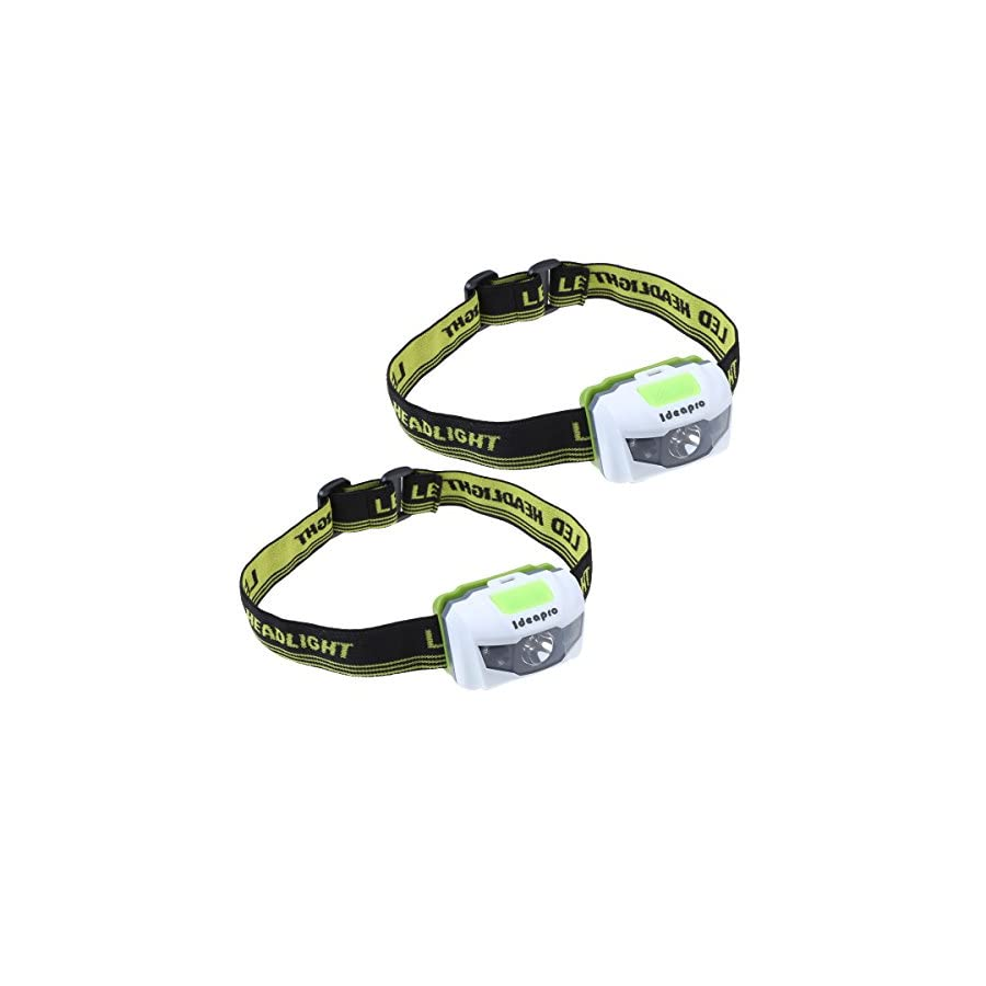ideapro LED Headlamp, 4 Lighting Modes Headlamp, Battery Powered Headlamp Flashlight Brightest and Lightweight, Waterproof with Adjustable Headband and Flashing SOS Light for Camping Running 2 Pack