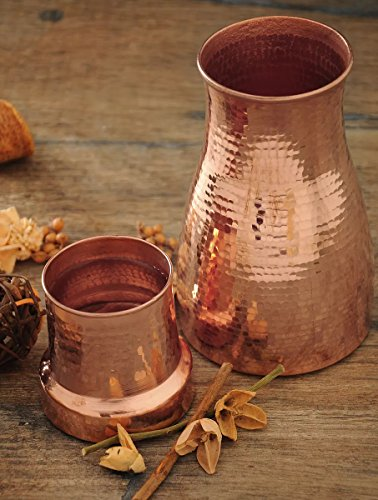 BedDecor Carafe - Pure Copper Water Bottle with Glass , Water Capacity 750 ml - Copper Carafe