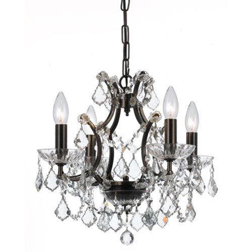 Crystorama 4454-VZ-CL-MWP Crystal Four Light Chandeliers from Filmore collection in Bronze/Darkfinish, ()