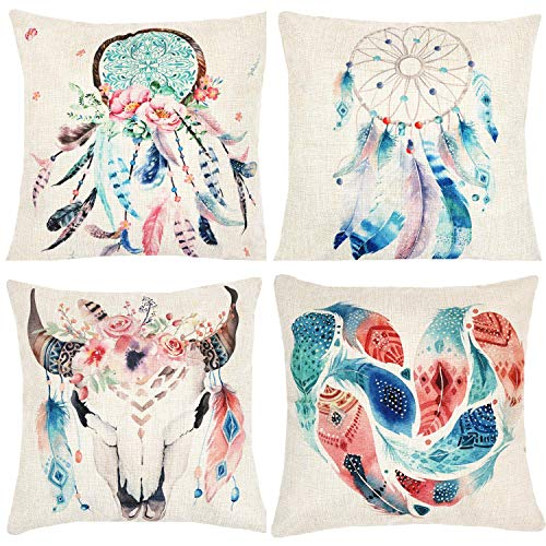 Munzong Dream Catcher Decorative Throw Pillow Covers 18 x 18 Inch Bohemian Style, Set of 4 Cotton Linen Floral Square Cushion Pillowcases for Car Bed,Boho Theme Birthday Wedding Party Home Decoration ()