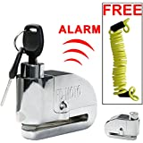 FD-MOTO LK303 Zinc Alloy Motorcycle Motorbike ALARM Disc Lock Bike Scooter Brake Disc Lock + Free Reminder Cable 1.4M