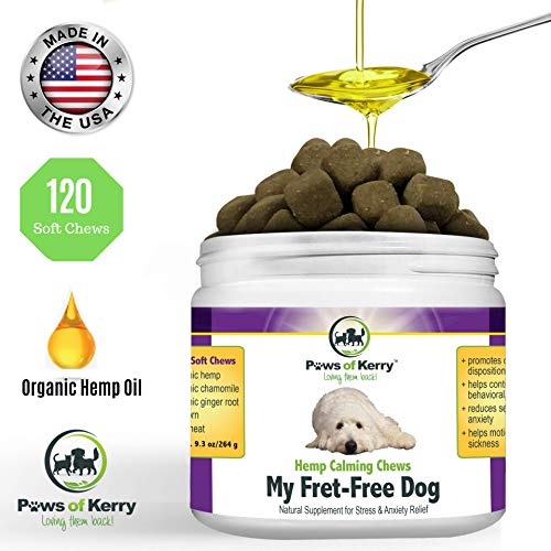 Paws of Kerry #1 Calming Treats for Dogs Anxiety, Natural Relief from Separation Anxiety, Organic Hemp Oil Soft Chews & Calm Aid for Motion Sickness, Storms, L-Tryptophan & Organic Chamomile - Anxiety Rescue Remedy Separation