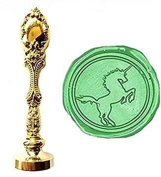 MNYR - Juego de sellos de cera, diseño vintage de unicornio de bronce, para