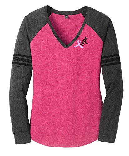 Cancer Womens T-shirt (Breast Cancer Hope Long Sleeve T-shirt (Medium, Heathered Dark Fuchsia/ Heathered Charcoal/ Black))