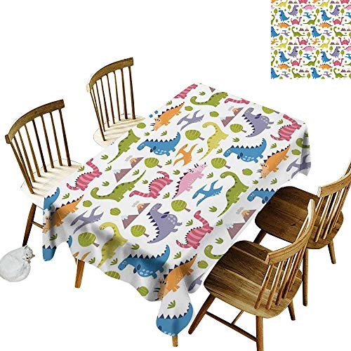 (kangkaishi Kids Washable Long Tablecloth Dinner Picnic Home Decor Cartoon Style Colorful Lovely Dinosaurs T-Rex Triceratops Prehistoric Reptile Wildlife W52 x L70 Inch Multicolor)