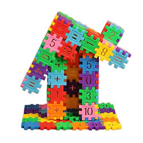 - GreenSun TM 80Pcs/Set Colorful Plastic Building Blocks Toy with Number Pattern Dual Math Learning Educational Gear Blocks Bricks Toy