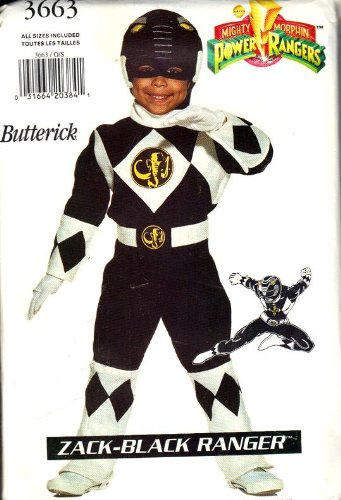 Butterick 3663 Zack-Black Power Ranger Costume Sewing Pattern Size 4 - 14 (Power Ranger Halloween Costume Pattern)