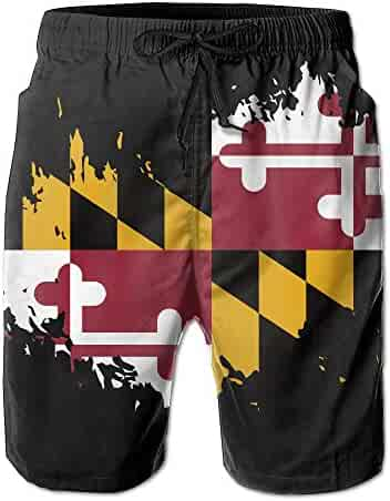 6d42f2374f MYKJ Maryland State Flag Summer Casual Quick-Dry Board Shorts Swim Trunks  Drawstring Striped Side