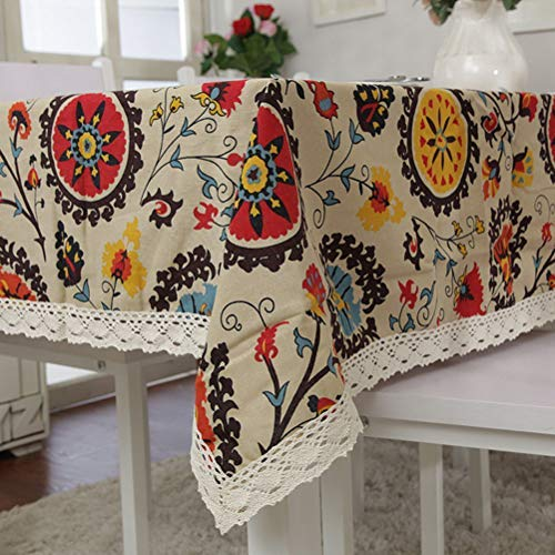 Bringsine Vintage Rectangular Cotton Linen Lace Sun Flower Tablecloth, Washable Tablecloth Dinner Picnic Table Cloth Home Decoration Assorted Size (Flower Print Tablecloth)