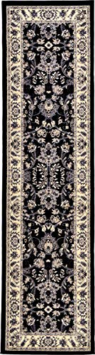 Unique Loom Kashan Collection Traditional Floral Overall Pattern with Border Black Runner Rug (2' 7 x 10' 0) (Rug Sage Kashan)