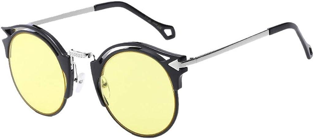 waotier Gafas de sol de forma redonda Gafas de sol unisex de leopardo/color sólido Gafas de sol polarizadas Marco de metal Protección UV Rosa
