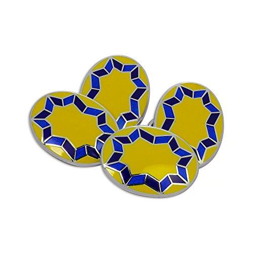 Star Yellow Cufflinks (Sterling Silver Yellow & Blue Enamel Star Burst Double-Sided Oval Cufflinks)