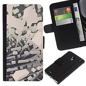Stuss Case / Funda Carcasa PU de Cuero - Abstract bloques blancos - Samsung Galaxy S4 Mini i9190