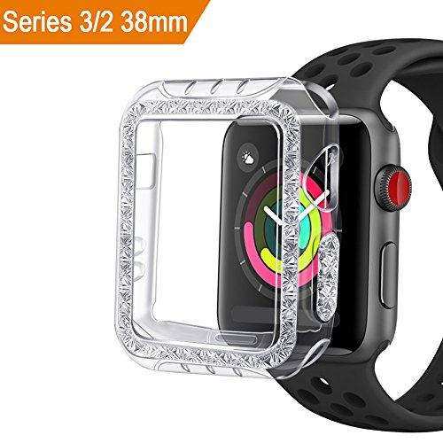 Case Compatible Apple Watch 3 2 38mm, GHIJKL Bumper Accessories Ultra Slim Protector Cover Apple Watch Series 3 Series 2, Crystal Clear