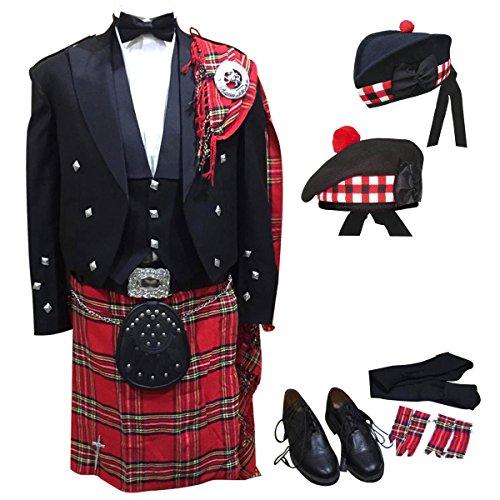 Traditional Scottish Woman Costume (21 Pcs Set of Prince Charlie Jacket, Vest, Kilt, Shirt etc Outfit)