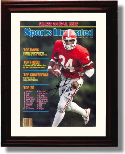 Framed Georgia Bulldogs Herschel Walker 1981 Sports Illustrated Autograph - Georgia Bulldogs Framed