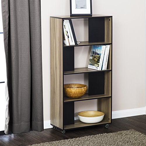 Cheap Fitueyes 4-Tier Bookcase Storage Shelves & Organization Cabinet With Wheels,BBS306001WB