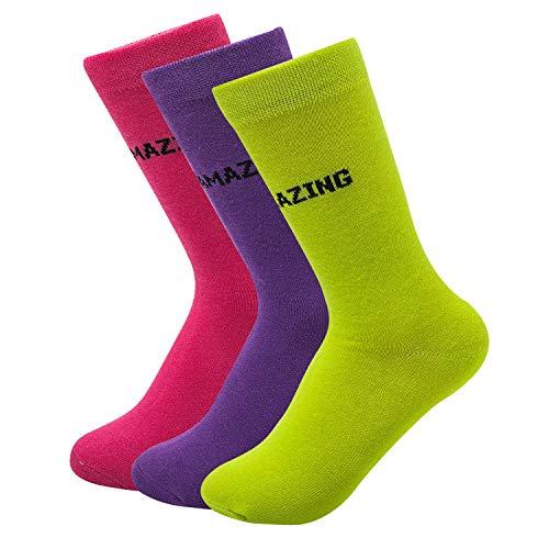 Sock Amazing Bamboo Socks Crew Socks for Women Girls 3 Pairs Fashion Casual Socks Rosy Dress Socks