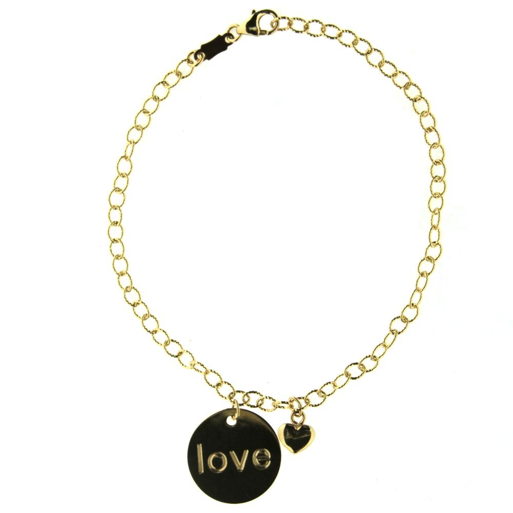 18k yellow gold circle love plaque and heart rollo bracelet 7 inches sizeble