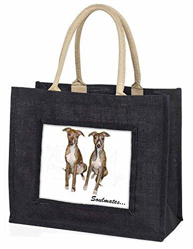 Advanta Whippet Hunde Soulmates Große Einkaufstasche/Weihnachtsgeschenk, Jute, schwarz, 42x 34,5x 2cm