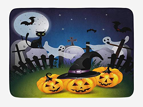 Halloween Bath Mat, Funny Cartoon Design with Pumpkins Witches Hat Ghosts Graveyard Full Moon Cat, Plush Bathroom Decor Mat with Non Slip Backing, 23.6 W X 15.7 W Inches, -